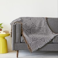 Textured Grey Weave Vintage Coin Design Throw