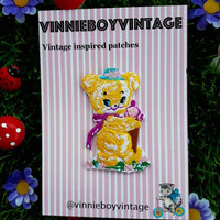 Kawaii cute ice cream Ted teddy bear patch iron on 50s 60s badge vintage inspired retro kitsch vinnie boy
