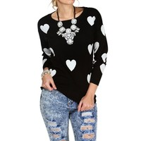 Black/White Heart Sweater