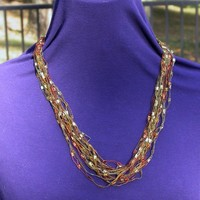 Fiber Necklace in Autumn Brown, Rust and Gold Trellis, Ladder Yarn