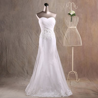 JAEDEN Mermaid Sweetheart Wedding Dresses Pleat Appliques Lace Tulle Cover Satin Crystal Beading Wedding Bridal Gown W060