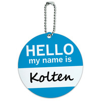 Kolten Hello My Name Is Round ID Card Luggage Tag