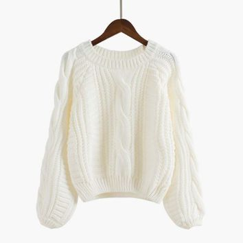 ESBOND Long Puff Sleeve Cropped Knit Sweater