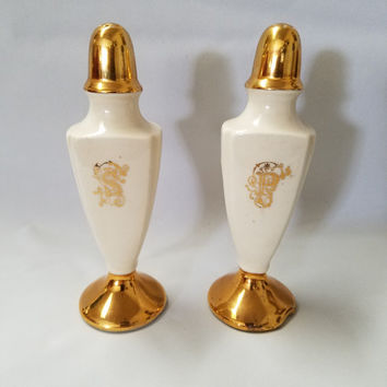 Elegant Art Deco  Porcelain Salt and Pepper Shakers  (889)