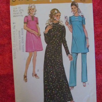 Sale 1970's Simplicity Sewing Pattern, 9475! Size 10, Bust 32 1/2, waist 24, Maternity, women's, summer and spring, shirts and pants Dresses
