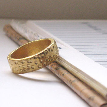 Gold Wedding Band. Thick Solid Gold Band, Wedding Ring, Textured Gold Ring, Rustic Design Ring, Earthy Gold Ring, Bridal Gold Band