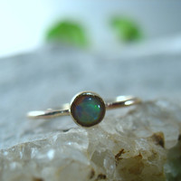 Stacking Ring Solid 14k Yellow Gold with White Fire Opal