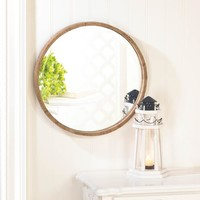 ROUND WOOD FRAME WALL MIRROR