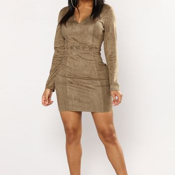 Elly Suede Dress - Olive