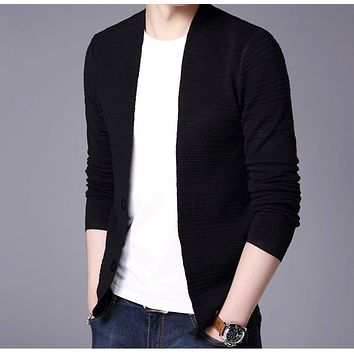Mens V Neck Cardigan in Black
