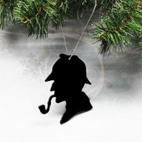 Classic Sherlock Holmes Christmas Ornament decoration silhouette black