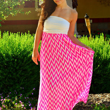 THE SWEETIE HOT PINK CHEVRON MAXI DRESS