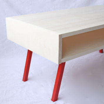Modern Coffee Table in Natural Aspen and Square Steel Tube Legs Finished in Color of Your Choice