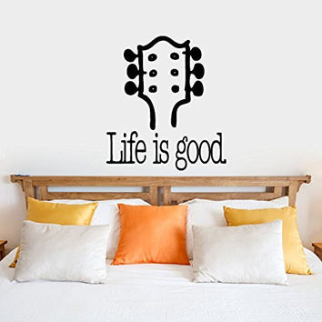 Life is Good with Guitar Neck Vinyl Wall Words Decal Sticker Graphic