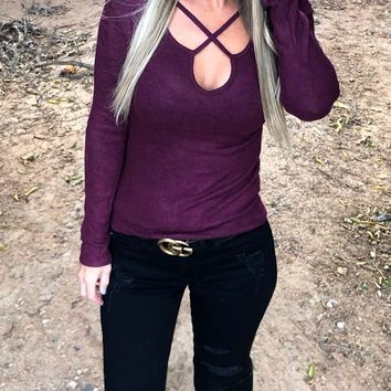 Seamingly Perfect Caged Top: Plum