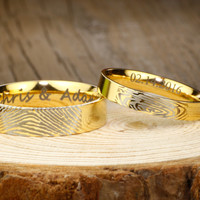 Your Actual Finger Print Rings, Handmade His and Hers Matching Anywords 18K Gold Wedding Engagement Rings Set