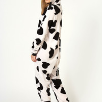 Daisy Cow Print Hooded Animal Onesuit