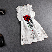 White Cutout Lace Rose Print Sleeveless Dress