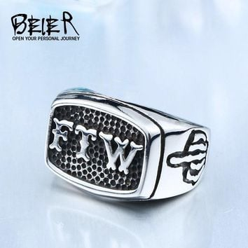 BEIER New Store FTW Punk Mechanical Screw Mens Motor Biker Exquisite Stainless Stee Motorcycle Ring Dropshipping BR8-420