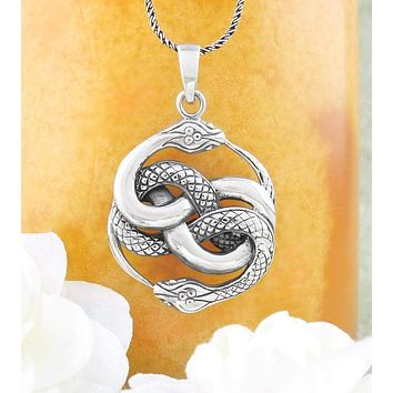 Knotted Double Ouroboros Snake Necklace