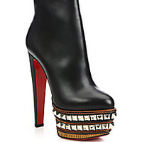 Christian Louboutin - Faolo Studded-Platform Leather Booties - Saks Fifth Avenue Mobile