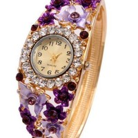 Purple Butterfly Watch Bracelet