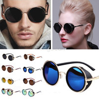 FANALA Women Sunglasses Polarized SteamPunk Vintage Sunglass Men Mirror Circle Round Frame Restoring Mirror Eyewear Sun glasses