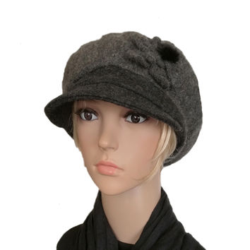 Felted Wool Hat for Women - Winter Felt Cap with Visor - Newsboy Hat