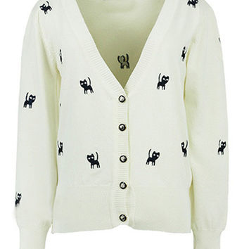White Cat Pattern Embroidered Cardigan
