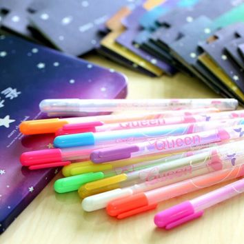 LolliZ 12 pcs/lot Colorful Gel Pen Set Refills Metallic Pastel Neon Glitter Sketch Drawing Color Art Marker Pen School Supplies