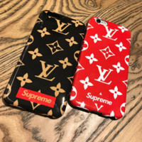 Fashion Supreme LV Print Matte Couple Phone Case For Iphone X/8 8Plus/7 7Plus/6 6s Plus