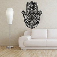 Hand Wall Decals Yoga Fatima Hamsa Indian Buddha Ganesh Decal Lotus Vinyl Sticker Bedroom Decor Home Interior Design Art Mural MN954