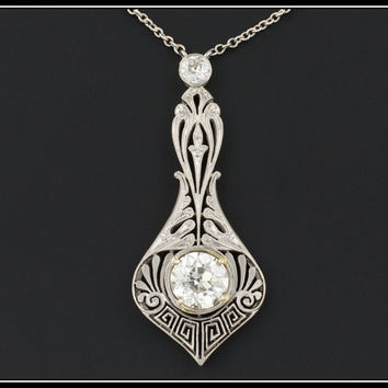 Antique Edwardian Platinum and 1.39ctw Diamond Necklace