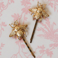 Gold BEE Hair Accessories Bumblebee Bobby Pin Set Gold Woodland Wedding Golden Honey BEE Fairy Nature Garden Wedding Bridal