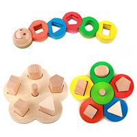 Rolimate Educational Preschool Wooden Shape Color Recognition Geometric Board Block Stack Sort Chunky Puzzle Toys, Birthday gifts toy for age 2 3 4 Years Old and Up Kid Children Baby Toddler Boy Girl