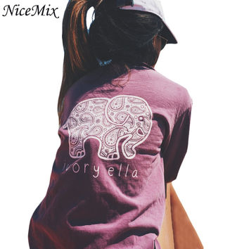 NiceMix Brand New 2016 Summer Women T-shirt Print Animal Elephant T Shirt Loose Long Sleeve Letters Tops Tee Harajuku Tshirt
