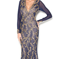ALEXANDRA GOWN IN NAVY WITH GOLD
