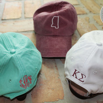Monogrammed Hat with State Outline