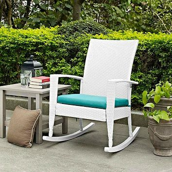 Indoor/Outdoor Patio Porch White High Back Wicker Rocking Chair with Turquoise Cushion