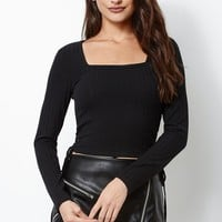 Kendall & Kylie Square Neck Cropped Top - Womens Tee - Black