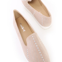 Nude Studded Loafer Style Flats Faux Suede