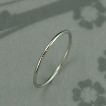Platinum Roll me Round Band--Solid Platinum 1mm Full Round Band--Perfect Spacer Band Handmade for YOU--Thin Platinum Band