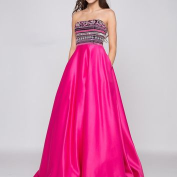 Colors Dress - 1714 Beaded Strapless Striped Satin Dress