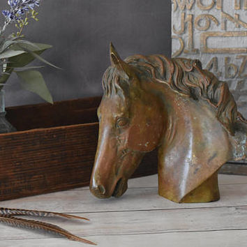 Brass Horse Head/ Horse Decor/ Horse Gifts/ Bronze Horse/ Brass Statue/ Vintage Horse/ Western Decor/ Equestrian Art/ Southwestern Decor