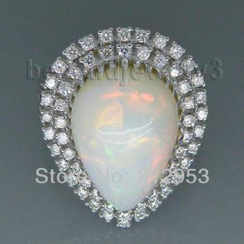 Vintage Pear 12x16mm Solid 18Kt White Gold Natural  Opal Ring SR294B