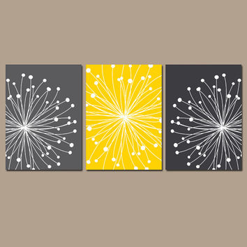 DANDELION Wall Art CANVAS or Prints Gray Yellow Bedroom Pictures Bathroom Artwork Bedroom Pictures Flower Dandelion Set of 3 Home Decor