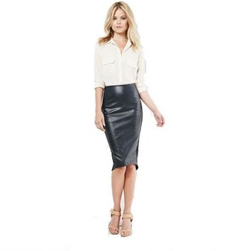 Women Skirts Black Leather Bodycon Skirt Back Slit Office Ladies Pencil Skirt Fashion High Waist Midi Skirts