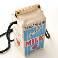 Cute Milk Box Shape and Canvas Design Women's Crossbody Bag