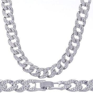 "Jewelry Kay style Choker Fashion Heavy Iced Out 15 mm 16"" Silver Plated Stone Cuban Chain Necklace"
