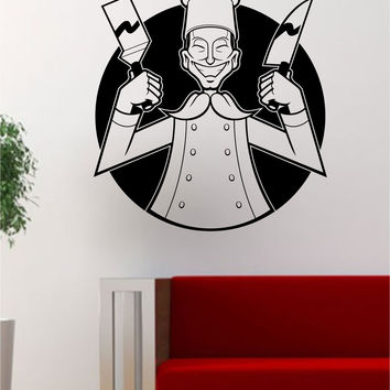 Hibachi Chef Japanese Food Restaurant Logo Art Decal Sticker Wall Vinyl Decor
